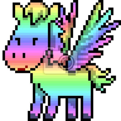 Image Vecteur Pixel Art Pégase Arc En Ciel
