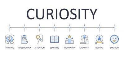 Image Vector banner infographics curiosity. Editable stroke icons. reward attention creativity thinking investigation learning emotion motivation. Stock illustration.
