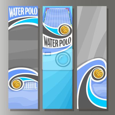Image Vector bannières verticales pour le water-polo: 3 modèle pour le titre de texte sur le thème du water-polo, piscine, volant dans la porte de but waterpolo ball, bannière verticale abstraite pour la pu