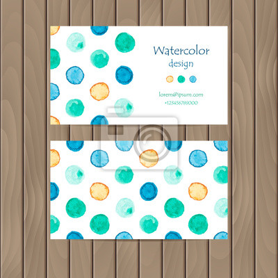 Vector business card with watercolor strips