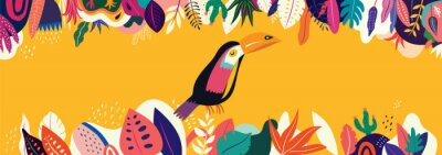 Vector colorful illustration with tropical flowers, leaves and toucan