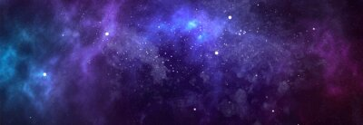Image Vector cosmic watercolor illustration. Colorful space background with stars