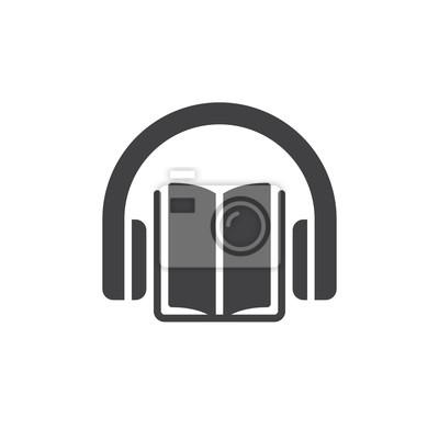 Image Vector Dicones De Livre Audio Signe Plat Rempli Pictogramme