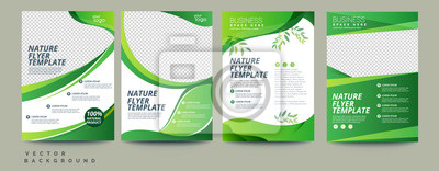 Image Vector eco flyer, poster, brochure, magazine cover template. Modern green leaf, environment design. - Vector