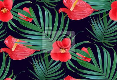 Vector Fleurs Tropicales Et Palmiers Feuilles Modèle Sans Couture