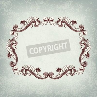 Image Vector frame frontière vendange gravure avec ornement rétro dans le style baroque antique design décoratif fond grunge