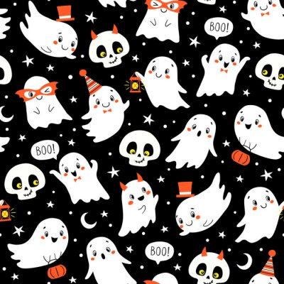 Image Vector Halloween seamless pattern with cute ghosts and skulls on black background