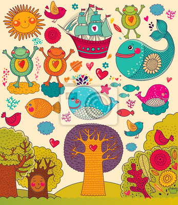 Vector illustration avec les animaux