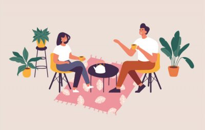 Image Vector illustration couple sitting at the table, drinking tea or coffee and talking. Romantic date in a cafe.