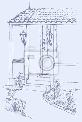 Le Porche De La Maison vector illustration. le chemin vers le porche de la maison