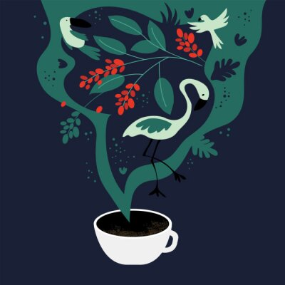 Image Vector illustration of cup of espresso with fancy scent. The dreams about tropics, equatorial regions where coffee plants are cultivated. Template with toucan,flamingo, parrot for banner, poster,flyer