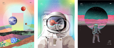 Image Vector illustration of space, cosmonaut and galaxy for poster, banner or background. Abstract drawings of the future, science fiction and astronomy