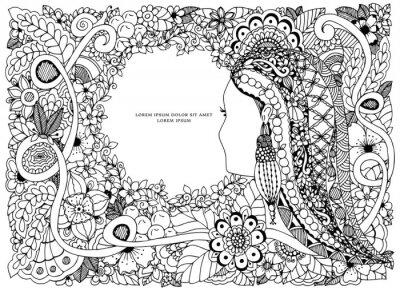 Coloriage Cadre Fleur.Vector Illustration Zen Tangle Portrait Dune Femme Dans Un Cadre