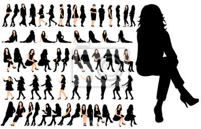Image Vector, isolé, ensemble de personnes assises, une collection de silhouettes