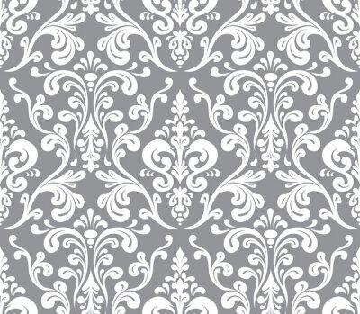 Image Vector. Motif damassé élégante transparente. Gris et blanc
