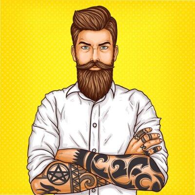 Image Vector pop art illustration d'un homme barbu brutal, macho avec tatouage plié ses bras sur sa poitrine