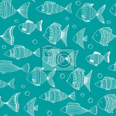 Vector seamless pattern avec des poissons de griffonnage