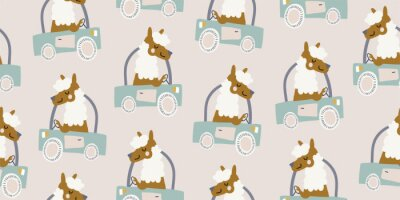 Image Vector seamless pattern with cute lamas, alpacas driving the truck, vehicle on beige background. Simple and stylish kids pattern, perfect for nursery, textile, print, bedding for boys and girls