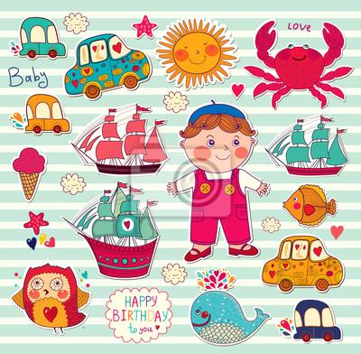 Vector set d'autocollants de dessins animés: garçon et jouets