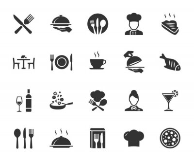 Image Vector set of restaurant flat icons. Contains icons menu, serving food, chef, wine list, cutlery, steak, tray and more. Pixel perfect.