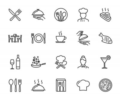 Image Vector set of restaurant line icons. Contains icons menu, serving food, chef, wine list, cutlery, steak, tray and more. Pixel perfect.