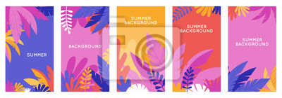 Image Vector set of social media stories design templates, backgrounds with copy space for text - summer backgrounds for banner, greeting card, poster and advertising