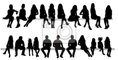 Image Vector, silhouette de personnes assises ensemble