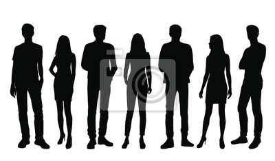 Image Vector silhouettes of  men and a women, a group of standing business people, black color isolated on white background