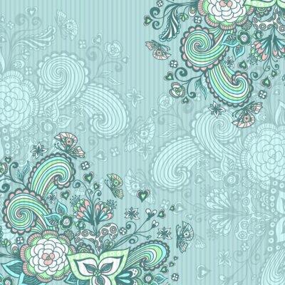 Image Vendange, fond, doodle, fleurs, bleu