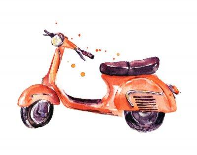 Image Vendange, scooter, aquarelle, Illustration, isolé, blanc
