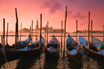Image Venise, célèbre, gondoles, doux, rose, Lever soleil, lumière,