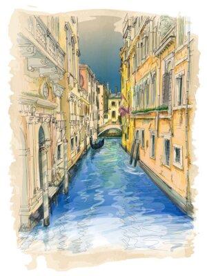 Image Venise - l'eau du canal, vieux bâtiments et Gondola distance