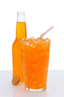 Verre d'Orange Soda avec bouteille