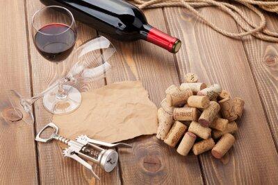 Image Verre, rouges, vin, bouteille, tire-bouchon, rustique, bois, table