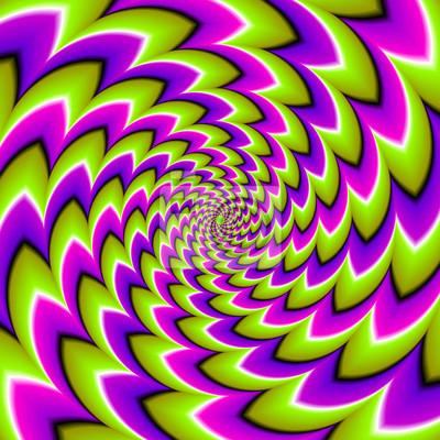 Vert, violet et rose spirales. spin illusion. peintures murales ...