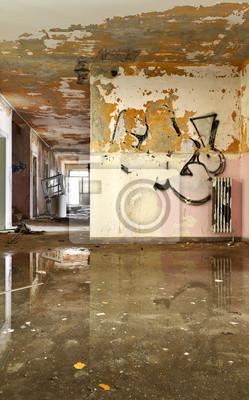 Vieille Maison Detruite Interieur La Chambre Vide Vue Peintures