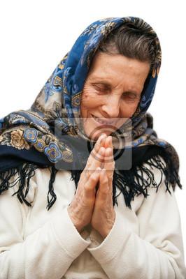 vieillesse prier femme sur fond blanc