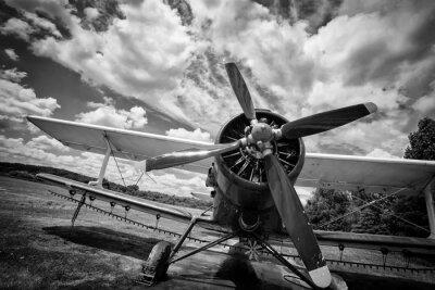 Image Vieux, avion, champ, noir, blanc