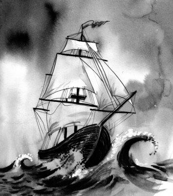 Image Vieux, bateau, orageux, mer