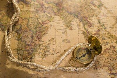 Image Vieux, boussole, corde, vendange, carte