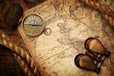 Image Vieux, compas, jumelles, corde, vendange, carte