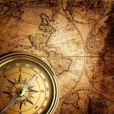 Image vieux compas sur la carte vintage 1746