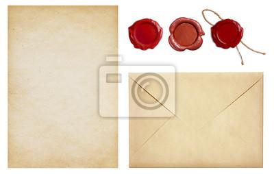 Vieux Enveloppe Et Lettre Papier à Cire Cachet Timbres