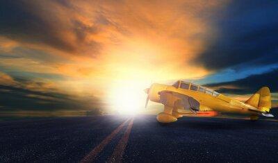 Image Vieux, jaune, hélice, avion, aéroport, piste, coucher soleil ...