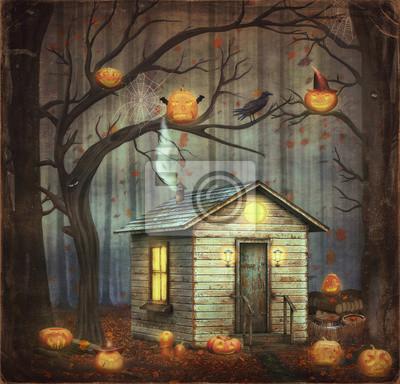 Vieux, maison, fairytale, forêt, entre, Arbres, effrayant, Halloween ...