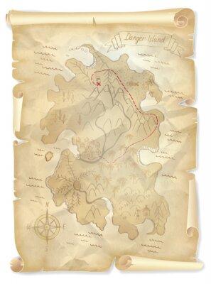 Image Vieux, pirates, trésor, île, carte, marqué, endroit, vecteur ...
