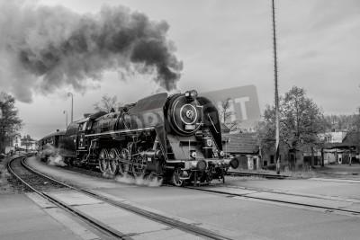 Image Vieux, vapeur, train, noir, blanc