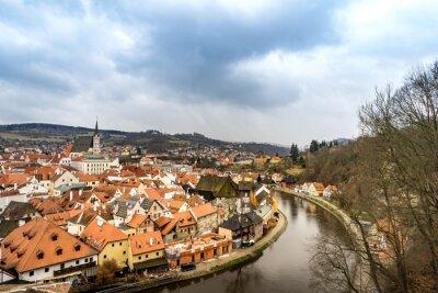 Image Vieux, ville, vue, Cesky, Krumlov, château, nuageux, jour