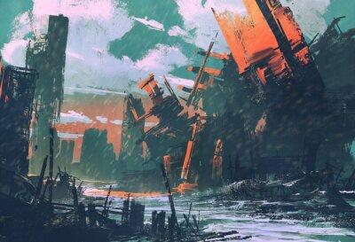 Image Ville de désastre, paysage apocalyptique, peinture d'illustration