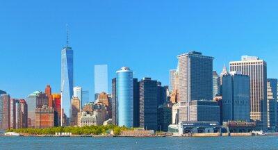 Image Ville de New York bâtiments de district de la rue de paroi inférieure financière Manhattan sur une belle journée d'été avec un ciel bleu